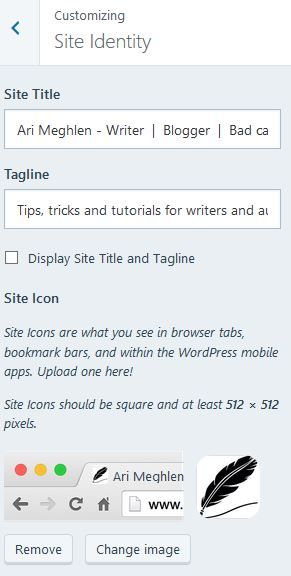 Screenshot of my site title and tagline in the Customization dashboard on WordPress.com
