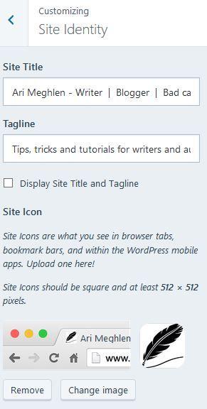 Screenshot of my site title and tagline in the Customization dashboard on WordPress.com