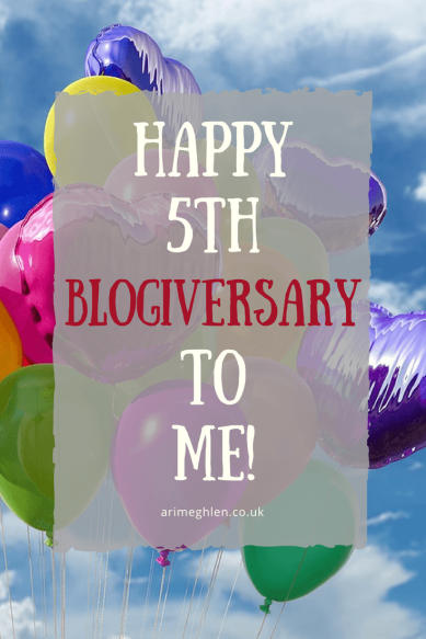 Happy 5th Blogiversary to Me.  Ari Meghlen's blog is 5 years old.  Image of party balloons