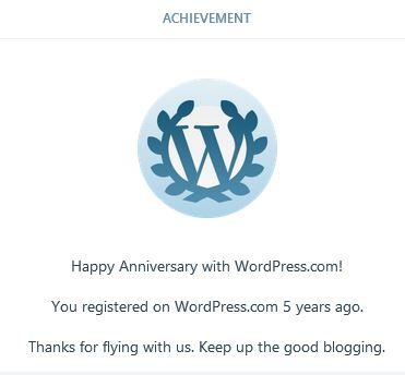 Image: 5 year anniversary blog achievement award