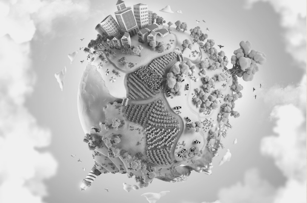 Feautred Images - How to build your world. World Builder. Vector image of a sphere world covered in buildings, farms and trees. Image bought from DepositPhotos