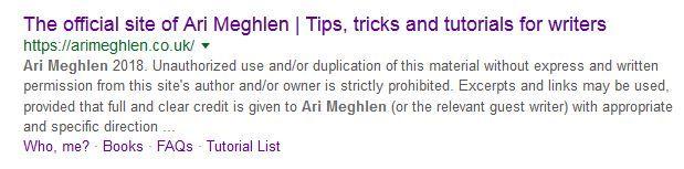 Screen grab of Meta Description of Ari Meghlen's Website (old)