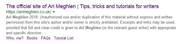Screen grab of Meta Description of Ari Meghlen's Website (old)