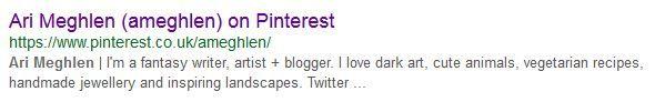 Screen grab image of Meta Description of Ari Meghlen Pinterest