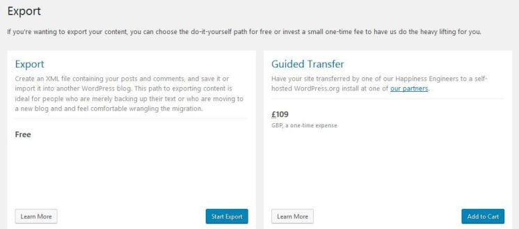 Image: Screenshot of Export options on WordPress