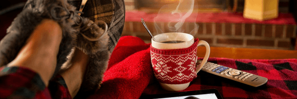 Title Image: Goals, Personal.  Image: Sleepered feet and mug of cocoa