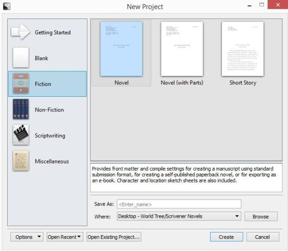 Screenshot - New Project Novel in Scrivener