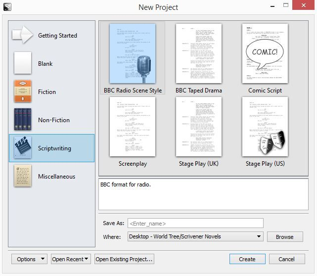 Screenshot New Project Scriptwriting In Scrivener