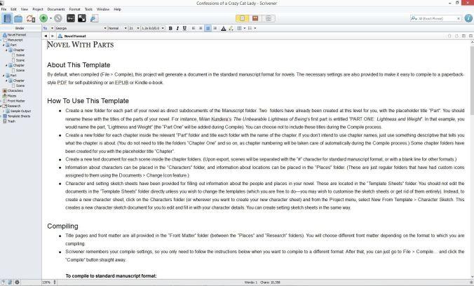 Screenshot Document view in Scrivener