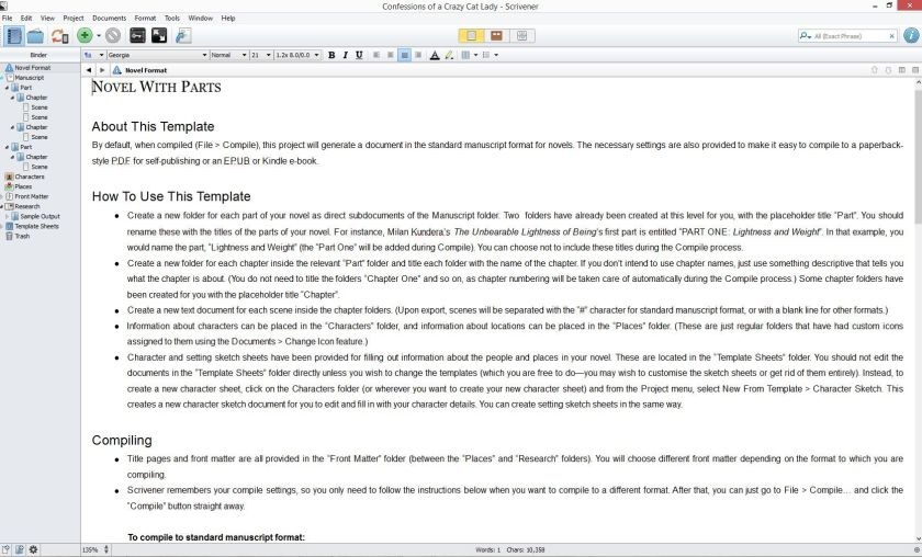 Screenshot Document view in Scrivener