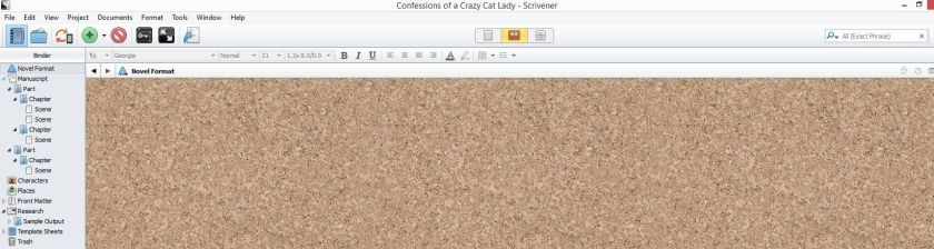 Screenshot corkboard view in scrivener