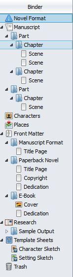 Screenshot Binder panel in Scrivener