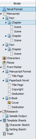 Screenshot Binder panel in Scrivener