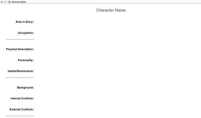 Screenshot Character Profile in Scrivener.  Character Sketch