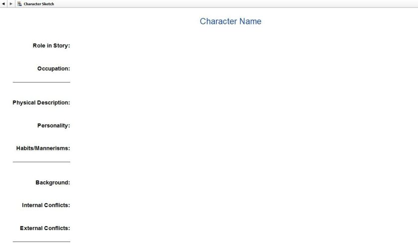 Screenshot Character Profile in Scrivener.  Character Sketch