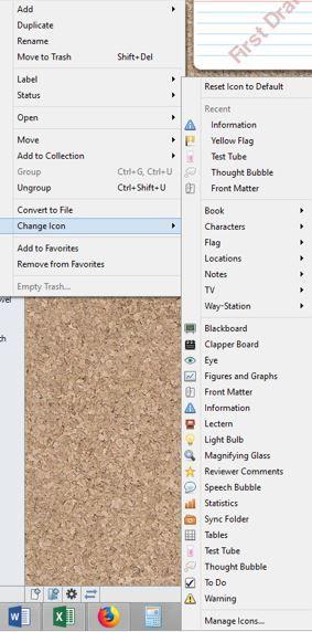 Screenshot Change Icon option in Scrivener