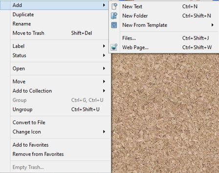 Screenshot Add new documents in Scrivener