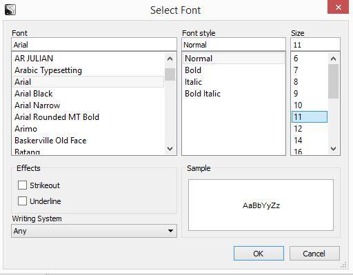 Screenshot of Select Font window in Scrivener
