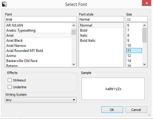 Screenshot of Select Font window in Scrivener