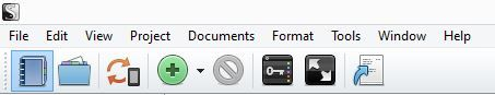Screenshot Toolbar icons Composition Mode in Scrivener