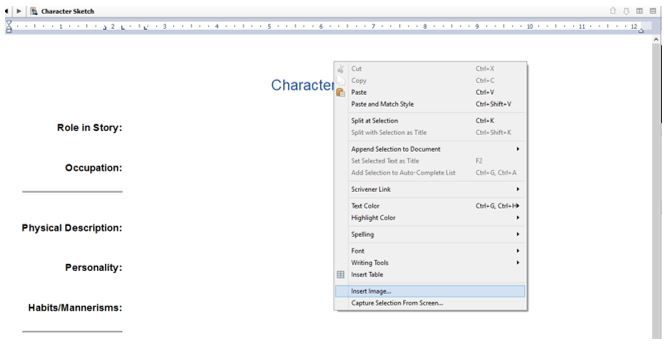 Screenshot Character Sketch and adding images in Scrivener