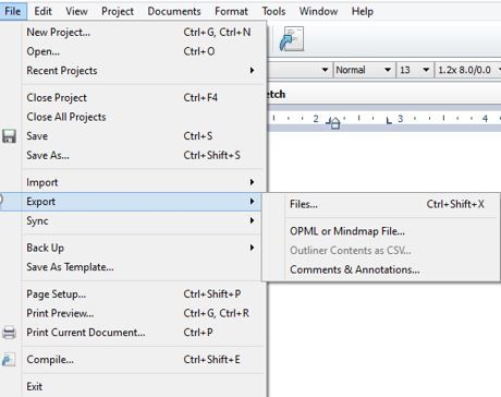 Screen shot how to Export Scrivener document into Word or PDF