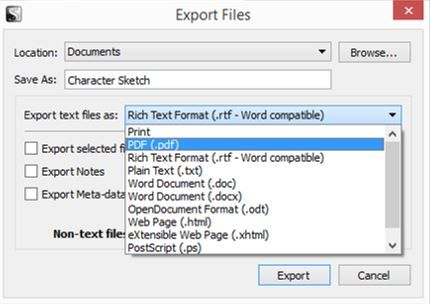 Screenshot Export Files window in Scrivener