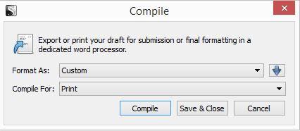 Screenshot Compile window in Scrivener