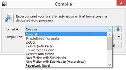Screenshot Compile format options in Scrivener