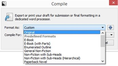 Screenshot Compile format options in Scrivener