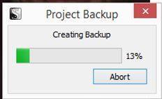 Screenshot project backup image in Scrivener