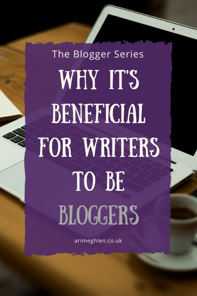 Title Image: The Blogger Series - Why it's beneficial for writers to be bloggers.  Image: Laptop on desk