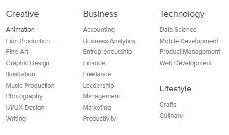 Image: Screen capture of the topics in Skillshare