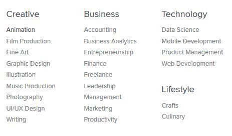Image: Screen capture of the topics in Skillshare