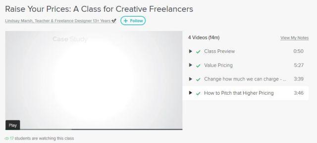 Image: Screenshot of a class in Skillshare