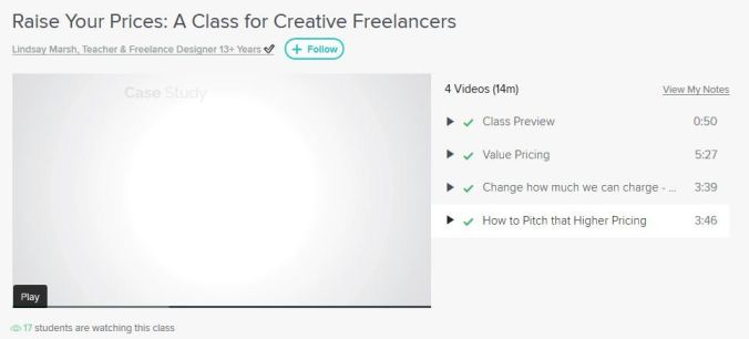 Image: Screenshot of a class in Skillshare