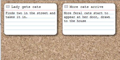 Screenshot cards on corkboard view in Scrivener