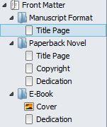 Screenshot Front Matter options in Binder panel in Scrivener