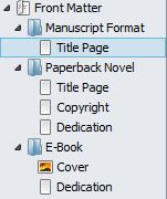 Screenshot Front Matter options in Binder panel in Scrivener