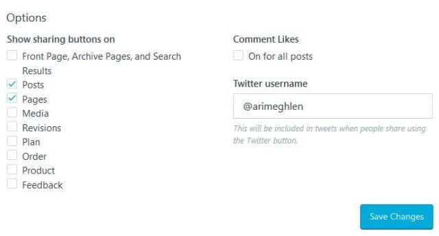 Image: Screen capture sharing button Options on WordPress.com