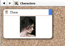 Screenshot character profile on Character Corkboard in Scrivener