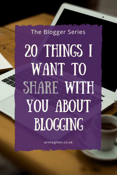 Title Image: The Blogger Series: 20 Things I want to Share with you about blogging.  Image: Laptop on desk