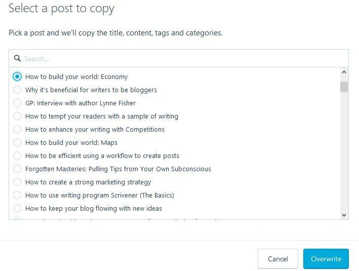 "Screenshot ""Select a post to copy"" dialogue box in WordPress.com"