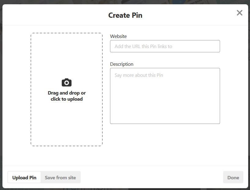 Screenshot of a create pin dialogue box