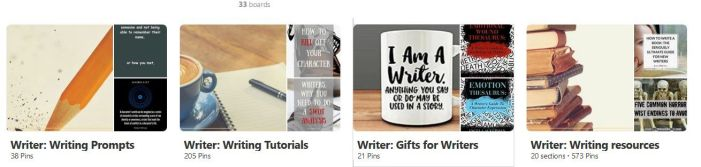 Screenshot of some Writer boards on Pinterest