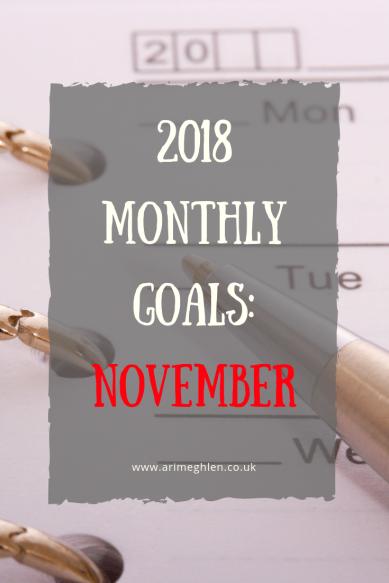2018 Monhly goals: November. Image: Pen and calendar