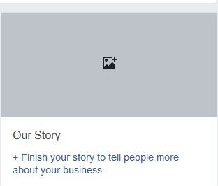 Screenshot of Facebook Our Story section
