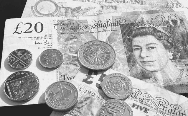 Featured Images - Invest in yourself. Image of British money, notes and coins