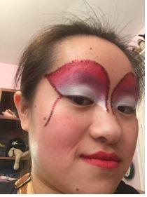 Performer face makeup. Eye makeup. Fan eye makeup. Dance Trapeze Artist Catherine Doveland
