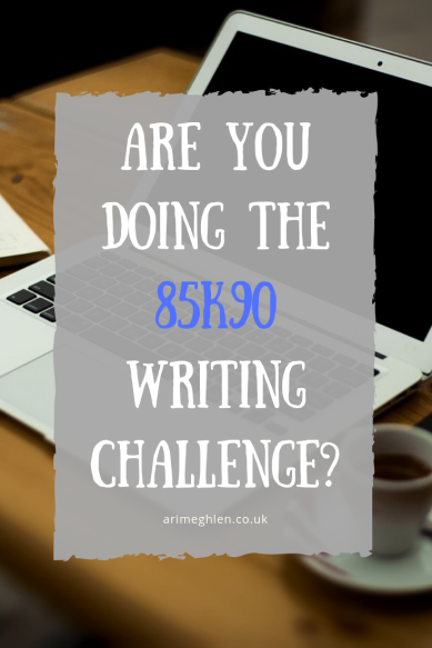 Are you doing the 85k90 Writing Challenge.  Image: Laptop and coffee on a desk